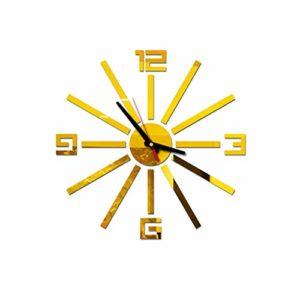 Evansamp Horloge murale décorative 3D en acrylique avec chiffres romains et chiffres romains Taille L Européen or