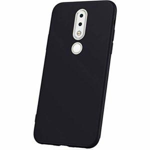JAWSEU Coque Nokia 6.1 Plus,Etui Nokia 6.1 Plus Silicone TPU Ultra Mince 360 Degrés Flexible Silicone Souple Gel Housse de Protection Full Protection Antichoc Bumper Case Coque,Noir