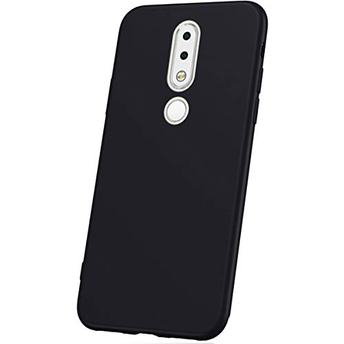 JAWSEU Coque Nokia 6.1 Plus,Etui Nokia 6.1 Plus Silicone TPU Ultra Mince 360 Degrés Flexible Silicone Souple Gel Housse de Protection Full Protection Antichoc Bumper Case Coque,Noir