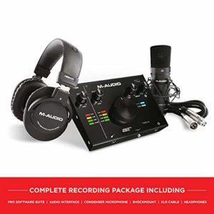 M-Audio AIR 192|4 Vocal Studio Pro – Pack d'enregistrement complet – Interface audio USB 24/192 2 entrées/ 2 sorties avec microphone à condensateur, support de suspension, cble XLR, casque, logiciels