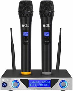TONOR Microphone sans Fil de Système VHF Portable Micro à Main avec Double Microphones Dynamiques et Écran LED pour Karaoké Réunion Fiesta