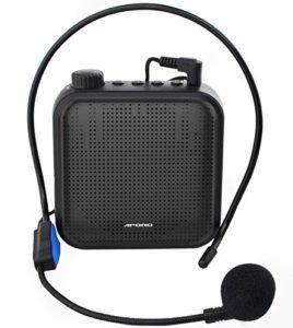 Amplificateur de Voix, Système de Sonorisation Rechargeable 12W (1200mAh) avec Microphone Filairepour les Enseignants, Guide Touristique et plus (Noir)