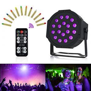 Anpro Lumière UV de Scénarium, 54 W, 18 LED, 5 modes avec télécommande, lumières disco de Scénario pour DJ Club, bar, fêtes