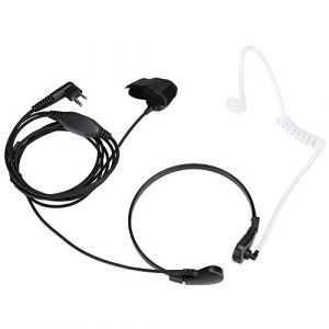 ASHATA Throat Mic Earphone Microphone Headset for 2 Way Radio GP300 Walkie Talkie Accessory, Walkie Talkie Earphone Microphones à Distance avec Boutons