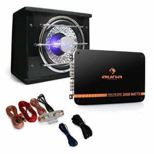 Auna Black Line 100 Pack Subwoofer Voiture – Set Tuning Comprenant Caisson de Basse 25cm et amplificateur 2 canaux (fourni avec câble, Effets de lumière LED) – Noir