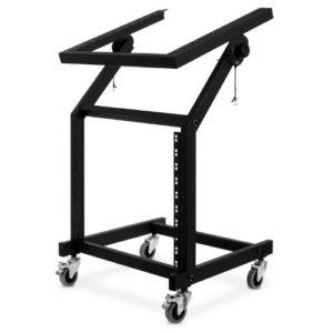 Auna Rack Stand 48cm 21U pour votre équipement et confort (construction en acier stable, partie supérieure inclinable, roulettes en caoutchouc)