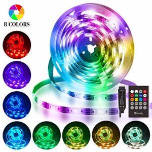 Bande LED USB 3M, Hually Ruban LED Etanche 5050 RGB avec Télécommande IR, Synchroniser avec la musique, Ruban Lumineux Réglable 8 Couleurs et 4 Modes pour Maison Décoration, Cuisine, Mariage, Fête etc