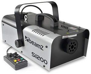 Beamz S1200 MKII Machine à brouillard DJ – Appareil à fumée (200 m³ / min, 1200 W, montage mur ou plafond) – Fourni avec 5 litres de liquide