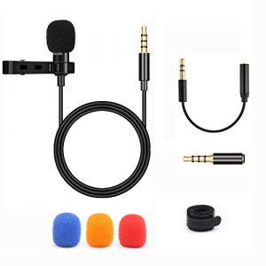 BIFY Lavalier Microphone pour smartphone et PC, 2 adaptateurs, pour iPhone, Android, smartphone et micro pour smartphones, PC