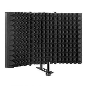 Bouclier d'isolation de microphone pliable, panneau pliant avec réflecteur en mousse absorbante,pour enregistrement de microphone en Studio, pour montage sur pied ou table(Noir)