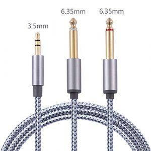 Câble audio stéréo 3,5 mm vers double 6,35 mm plaqué or 3,5 mm 1/8 TRS mâle vers 6,35 mm 1/4 TS mâle mono Y câble compatible pour haut-parleurs multimédia iPhone et systèmes stéréo à domicile 1,8 m