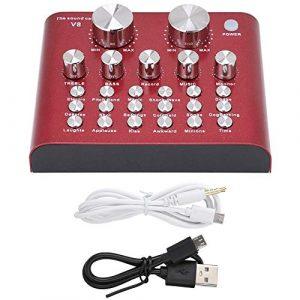 Carte son live externe,Mixeur audio USB externe Ordinateur portable PC Carte son live Micro casque karaoké,112 électro-acoustique,18 effets sonores,6 modes d'effets,7 types de méthodes de connexion