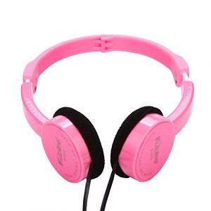 Casque pour Enfants écouteur écouteurs Poids Léger Casque Kubite Kids Wire Stéréo Pliable à L'Oreille Headset pas cher (Rosado)