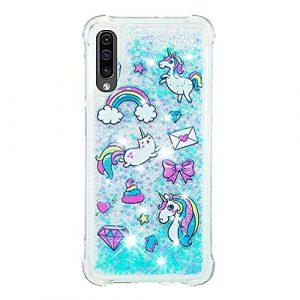 Compatible avec Samsung Galaxy A70 Coque Liquide Bleu Mignon 3D Liquide Flowing Glitter Brillant Cœurs Pailleté Extra fine Transparente Silicone Housse Souple TPU Cover – Chat Licorne Gâteau