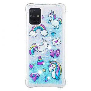 Compatible avec Samsung Galaxy A71 Coque Liquide Bleu Mignon 3D Liquide Flowing Glitter Brillant Cœurs Pailleté Extra fine Transparente Silicone Housse Souple TPU Cover – Chat Licorne Gâteau