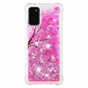 Compatible avec Samsung Galaxy S20 Coque Liquide Rose Fantaisie 3D Liquide Flowing Glitter Brillant Coeur Pailleté Extra fine Transparente Silicone Housse Souple TPU Cover – Fleur de cerisier
