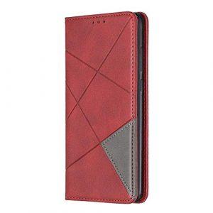 Coque pour Huawei P30, Bear Village® Étui en Cuir, Flip Housse à Rabat avec Fonction de Support et Fente pour Cartes, Rouge
