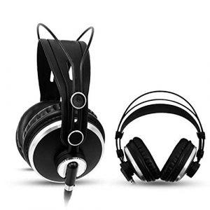 DFGH Casque Professionnel de Surveillance 3,5 mm + 6,3 mm pour Ordinateur MP3 écouter de la Musique DJ