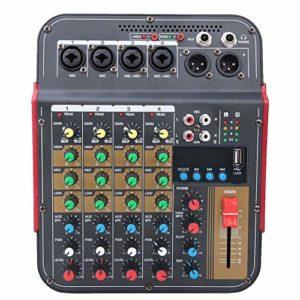 Diyeeni Table de mixage Portable 4 canaux, système de Console de Carte Son Audio, Table de mixage stéréo Professionnelle pour DJ, KJ, école, Audio en Direct 100~240V(EU Plug)