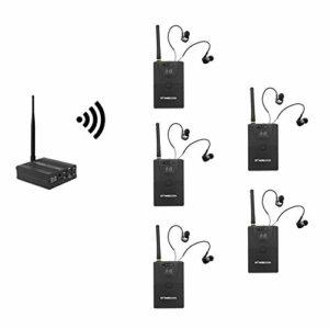 Docooler Système in-Ear de Monitoring, Système de contrôle Audio de scène Intra-auriculaire Système de contrôle de réseau sans Fil numérique Professionnel 2,4 GHz (1 émetteur 5 récepteur)
