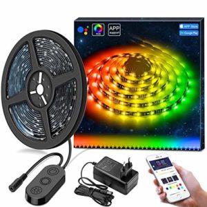 DreamCouleur Ruban à LED avec APP, Govee 5M Musique Bande Led Etanche 5050 RGB Multicolore Décoration pour Chambre, Jardin, Bar, Fête, Mariage, etc.