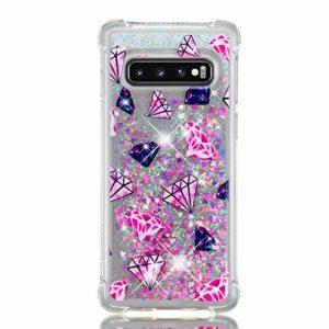 Edaroo Coque Pour Samsung Galaxy S10 PLUS, Paillette Liquide Rosa 3D Diamant BrillanteCoeurs Glitter Transparente Souple Tpu Gel Case Bleu Rose Diamant Modèle Antichoc Protection Etui Housse Bumper