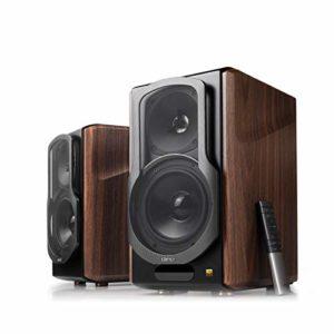 Edifier S2000MKIII Enceintes Bibliothèques Amplifiées Bluetooth 2.0 – Enceintes Moniteur de Studio de proximité Actives Tri-amplifiées 130w pour Audiophiles avec Entrée Optique, sans-Fil et Ligne