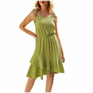 ELECTRI Robe de Plage Femme Robe irrégulière des Fêtes Mesdames Robe de soirée d'été sans Manches lâche