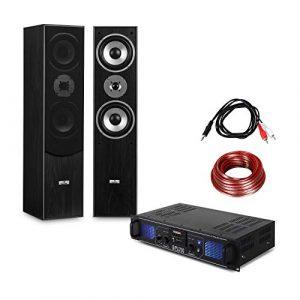 Electronic Star – Set hifi stereo avec ampli home cinema et pack d'enceintes colonnes 3 voies (USB,SD,MP3,2000W de puissance maximale)