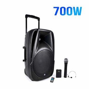 Enceinte mobile port amplifié 700W 12″ TRANSIT12-VHF-BT USB/SD/BLUETOOTH