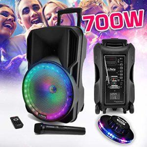 Enceinte sono DJ PARTY KARAOKE 700W Batterie Disco Mobile 12″ à LED RGB USB/MICRO SD/Bluetooth/RADIO FM + Micro VHF + OVNI Ufo