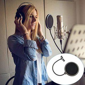 ETbotu Filtre de microphone double couche avec écran de protection pour microphone professionnel