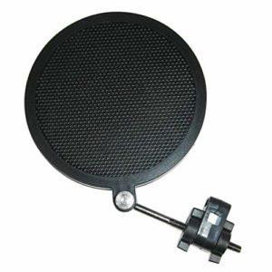 Exceart Filtre Anti-Pop Microphone Écran Anti-Pop Filtre Anti-Vent à Double Couche pour Studio Ktv Domestique (Noir Petit)