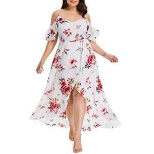 Femme Robe Maxi Été Chic Robe Longues Imprimé Florale Long Robe Élégante Col V Robe Soirée Épaules Nus
