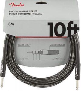 Fender 099-0820-062 Câble pour instrument de la série professionnelle – 10 pi – STR/STR – Tweed gris