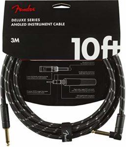 Fender 0990820090 Câble pour instrument de série Deluxe, droit/angle, 10 pi, tweed noir
