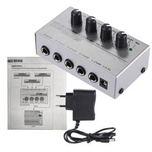 Fesjoy MX400 Ultra compact faible bruit 4 canaux ligne mélangeur Audio Mono avec adaptateur secteur