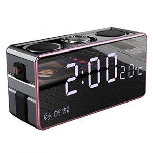 Ffshop Haut-Parleur Portable Bluetooth sans Fil Haut-Parleur sans Fil Bluetooth Subwoofer Mini téléphone Portable Réveil Mini Haut-Parleur Maison Voiture Extérieur Enceinte 3D Surround portátiles