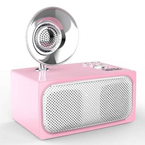Ffshop Haut-Parleur Portable Bluetooth sans Fil Modèle de phonographe subwoofer intégré avec Haut-Parleur rétro sans Fil Bluetooth portátiles (Color : Pink)