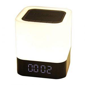 Ffshop Haut-Parleur Portable Bluetooth sans Fil Réveil Haut-Parleur Bluetooth Veilleuse Haut-Parleur Capteur Tactile Lampe de Chevet Haut-Parleur extérieur pour la Maison portátiles