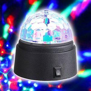 gadgetzone Mini Disco Boule à FACETTES DJ Scène Lumières 3W LED RGB Cristal magique rotatif à couleur changeante EFFET DE LUMIÈRE POUR Fête Noël mariage. Super boys ou filles REMPLISSAGE Chaussettes