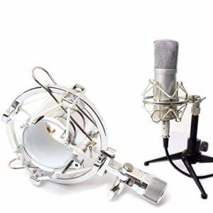 Ghpter Pied de Microphone sur scène Radio Microphone Shock Desktop Clip Mont Holder Support for Microphone à condensateur (Couleur : Argent, Taille : Taille Unique)