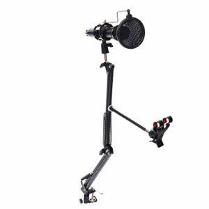 Ghpter Pied de Microphone sur scène Remax CK100 Réglable Pied De Micro Support De Base Maximum De Verrouillage À Double Couche De Filtre Mobile Studio D'enregistrement (Couleur : Noir, Taille : 95cm)