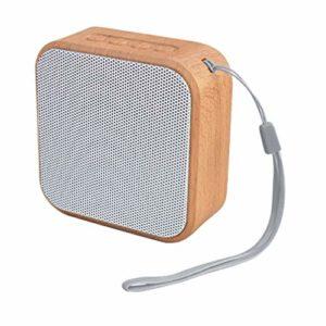 HEALLILY en Bois Grain Carré Haut-Parleurs sans Fil Stéréo FM Radio Clear Bass TF Carte USB Lecteur de Musique pour La Maison en Plein Air (Blanc)