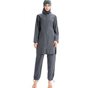 Heligen New Musulman Maillots de bain islamique couverture complète pour femme à manches courtes Modeste Maillots de bain Burkini Lady Rash Guard Costume de surf L 4 Gris