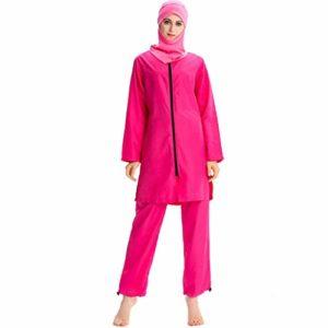 Heligen New Musulman Maillots de bain islamique couverture complète pour femme à manches courtes Modeste Maillots de bain Burkini Lady Rash Guard Costume de surf L Rose vif.