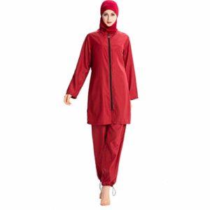 Heligen New Musulman Maillots de bain islamique couverture complète pour femme à manches courtes Modeste Maillots de bain Burkini Lady Rash Guard Costume de surf XL 4 rouges.