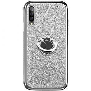 Hpory Silicone Coque Compatible avec Samsung Galaxy A50 Slim Housse Etui Brillante Glitter Bling Diamant Strass avec Bague Ring Support Cover TPU Silicone Bumper Case,Argent