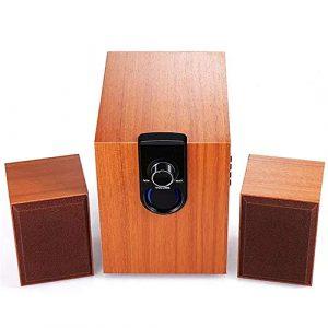 HUDEMR Haut-parleurs Bois 2.1 canaux 30W Haut-parleurs multimédia de Bureau Combinaison Caisson de Graves Haut-Parleur Bluetooth Bois Haut-Parleur Portable (Color : Wood, Size Show)
