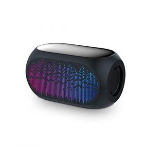 HUDEMR Haut-parleurs HiFi Bluetooth coloré sans Fil Haut-Parleur 10W Basse stéréo Mains Libres Casque Haut-Parleur Portable (Color : Black, Size : 133x71x75mm)
